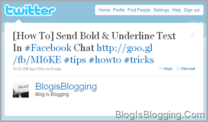 Twitter status BlogisBlogging Embed on Blog