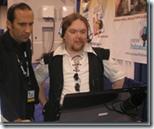 Brett demonstrating with Ewan Spence (right)