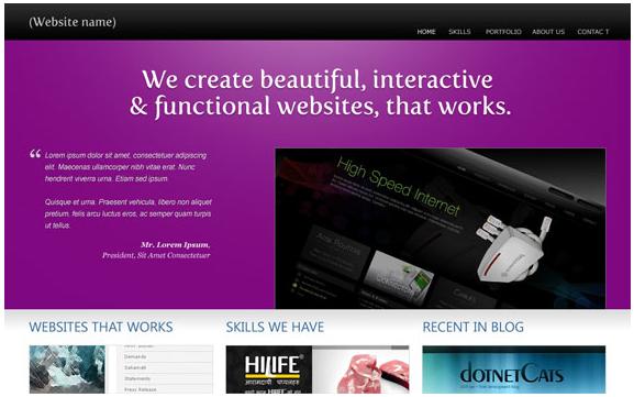 free portfolio PSD template tutorial web desain