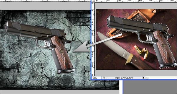 ... Pistol telah terseleksi dan siap untuk diganti backgroundnya, dengan