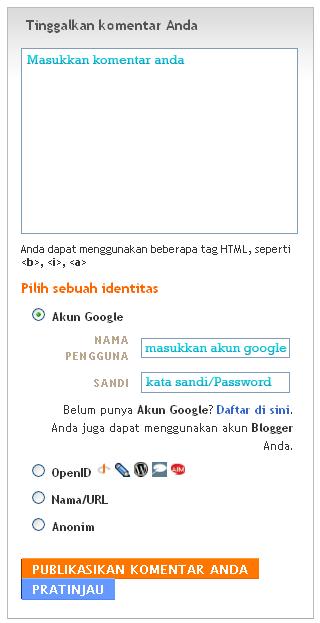 berkomentar diblog blogspot