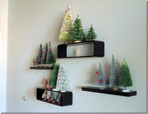 trees on shelves