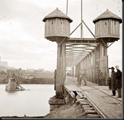 Union fortifications on rail bridge