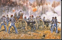 Painting of Ruggles Battery in action