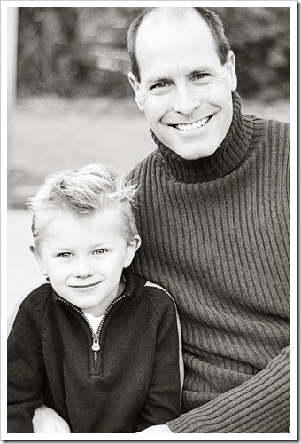father and son bw