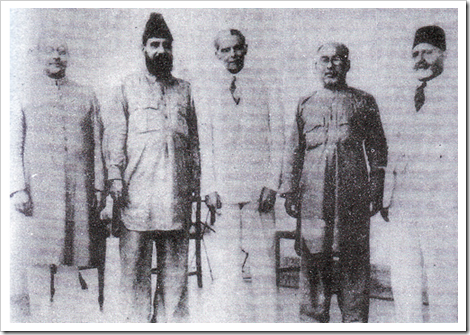 Quaid-e-Azam with Liaquat Ali Khan, Allama Mashraqi. Barrister Mian Ahmed Shah and Sir Ziauddin Ahmed