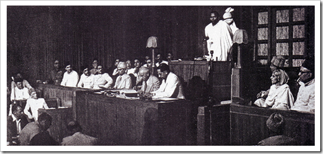Quaid-e-Azam listening to Law Minister Joginder Nath Mandal