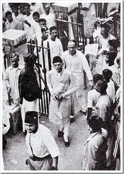 Nawabzada Nasrullah escorts Mr Jinnah in Calcutta 1945