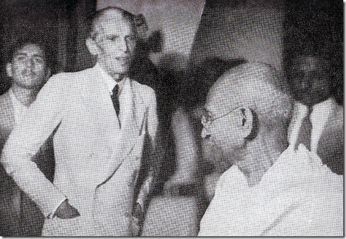 Jinnah sees off Gandhi at his Bombay home