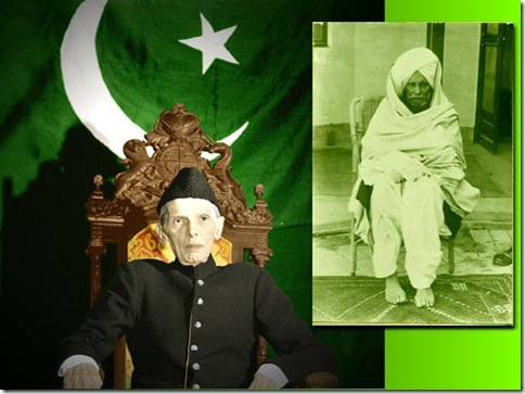 Quaid e Azam (left), Syed Jama'at Ali Shah (right) [May Allah Be Pleased with them Both]