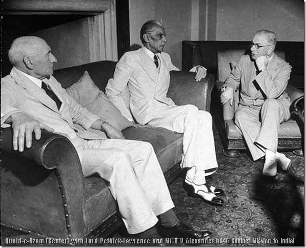 Quaid-e-Azam Mohammad Ali Jinnah with Lord Pethick-Lawrence and Mr A V Alexander (1946 Cabinet Mission to India)