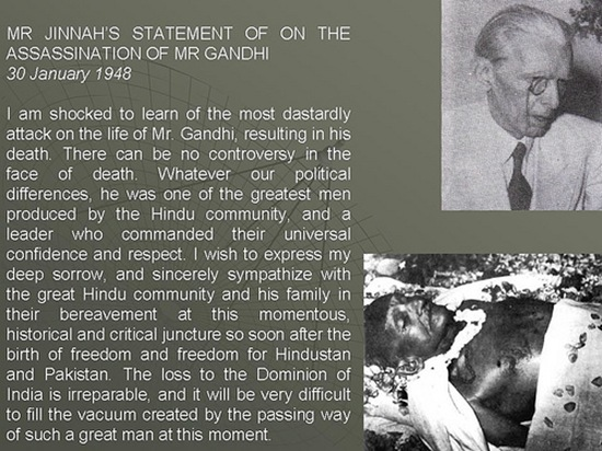 Mr Jinnah's statement on the assassination of Mr Gandhi