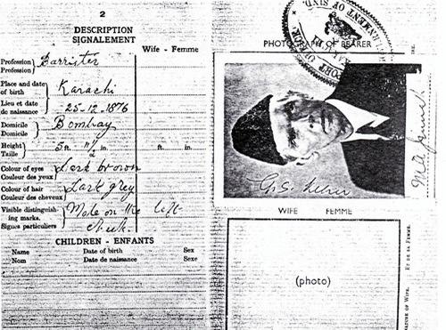 Quaid-e-Azam's passport describing him as a Barrister from Bombay