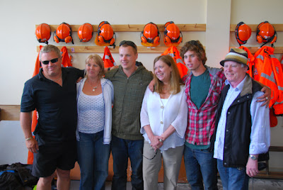 Ryan and Harry with their families at search base