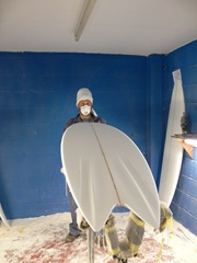Tim Stafford shaping his Evo4 quad FreakFish bonzer surfboard