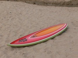 "Tim Stafford Custom Surfboards - Cornwall UK, 6'4"" bonzer EVO3 double wing pintail with watermelon spray"