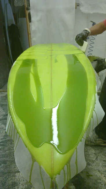 Tim Stafford custom  bonzer surfboard resin tint