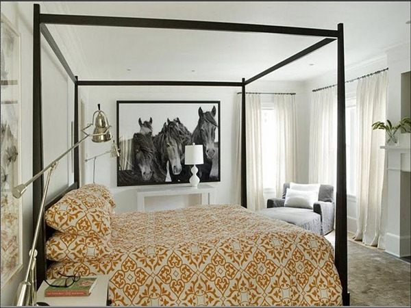 eric_roth_bedroom_wood_canopy_bed_four_poster_orange_bed_spread_horse_photo_wall_hanging_picture_white_curtains_drapes_modern