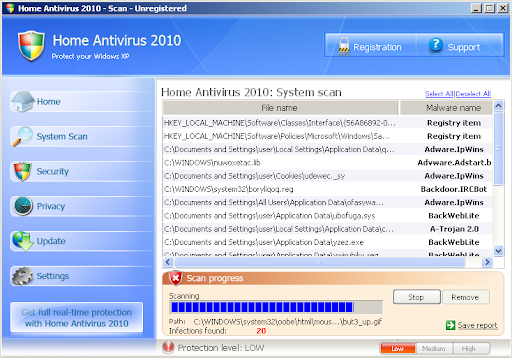 Home Antivirus 2010 Removal Options