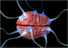 Humna brain with flashing impulses