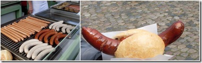 hot dog al mercato di munsterplatz a Friburgo