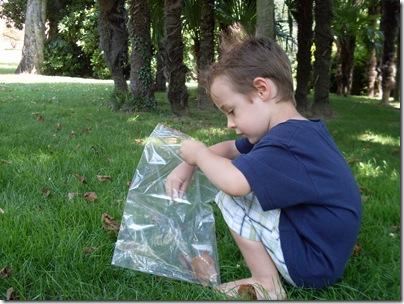 Aj raccoglie tesori nel giardino di Lugano.
