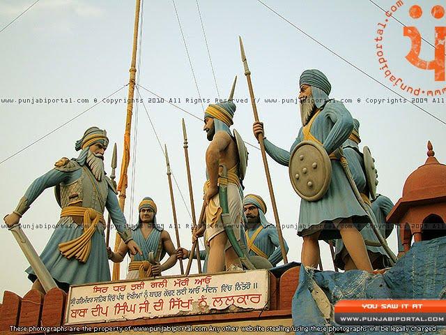 Baba Deep Singh Ji Sikh Sculpture in Gurudwara Mehtiana Sahib Near Moga