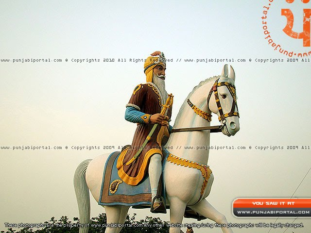 Maharaja Ranjit Singh Sikh Sculpture in Gurudwara Mehtiana Sahib Near Moga