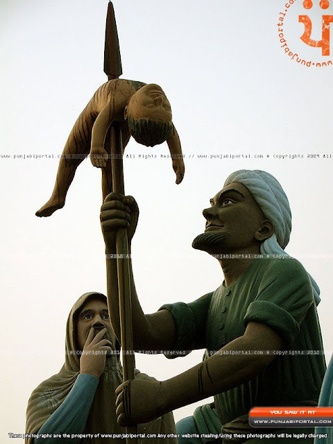 Meer Manu and his torture of Sikh women Sikh Sculpture in Gurudwara Mehtiana Sahib Near Moga