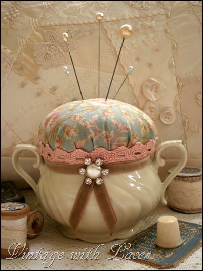 Sugarbowl turned into pincushion by Vintage with Laces