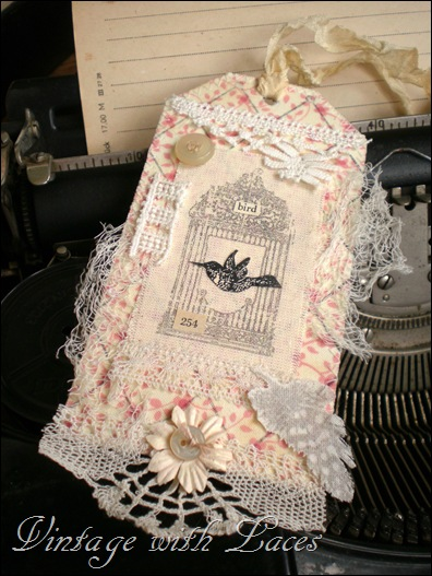 Fabric and lace tag with bird by Vintage with Laces