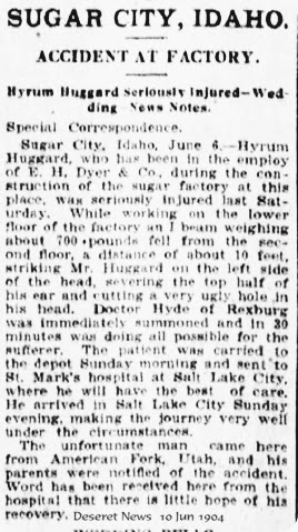 Huggard Hyrum James Factory Injury  10Jun1904