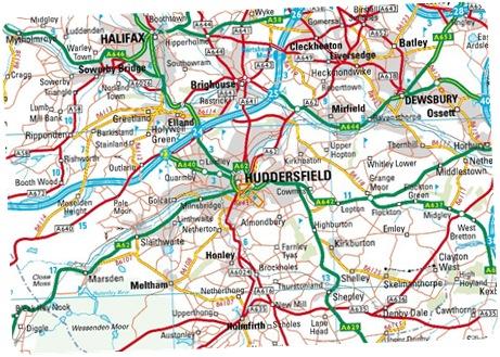 Huddersfield England map