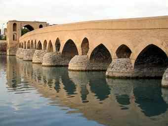 The Sasanian bridge of Sharestan (Šahrəstān).