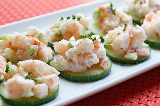 Shrimp salad on cucumber slices is perfect as an appetizer, snack or ...