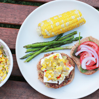 Rajma Veggie Burgers with Feta and Corn Salsa