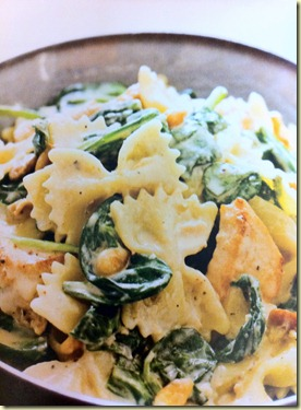 pasta with spinach and pine nuts
