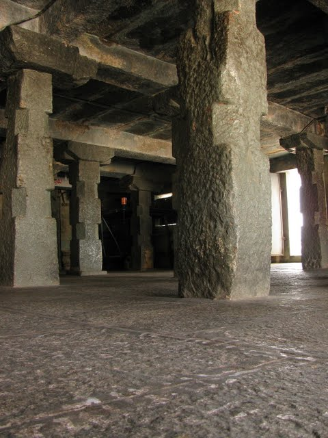 The stone pillars inside the Begur temple