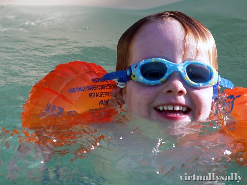 season's first swim