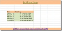 Weekday function, MS Excel