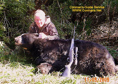 Noel Harvey took this 760 lb bear while hunting with Conmans Guide Service