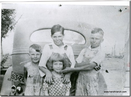 Grandpa Carl (center), Robert (right), Elmo and Sally Mae (bottom)