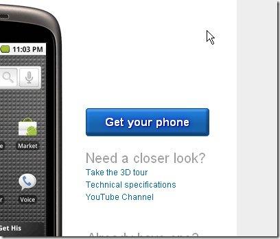 Nexus One Seite ist verfügbar
