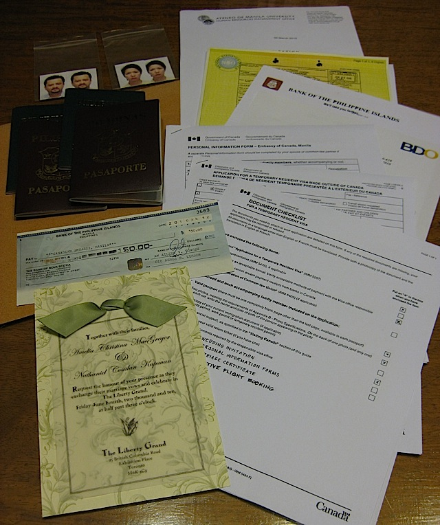 Canadian visa application documents