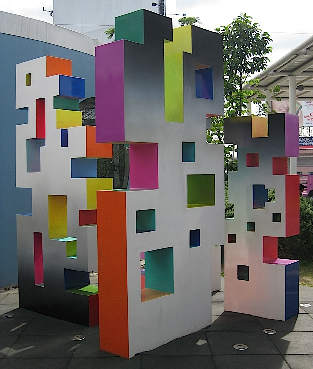 Joel Ferraris' sculpture 'Pixel Planes' at SM City North EDSA's Sky Garden