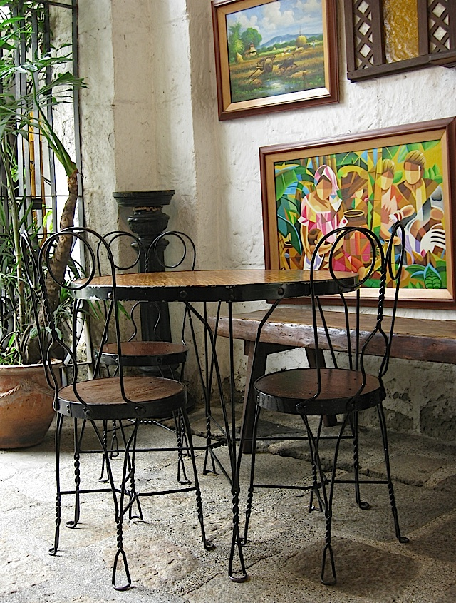 batibot chairs and table at Barbara's Cafe in Intramuros