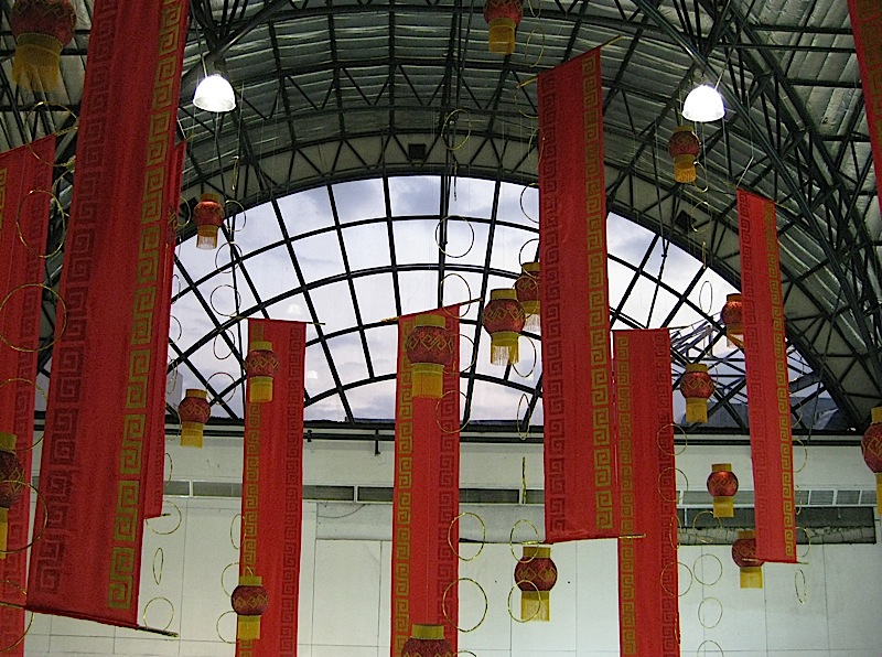 red lanterns and banners for the Lunar New Year