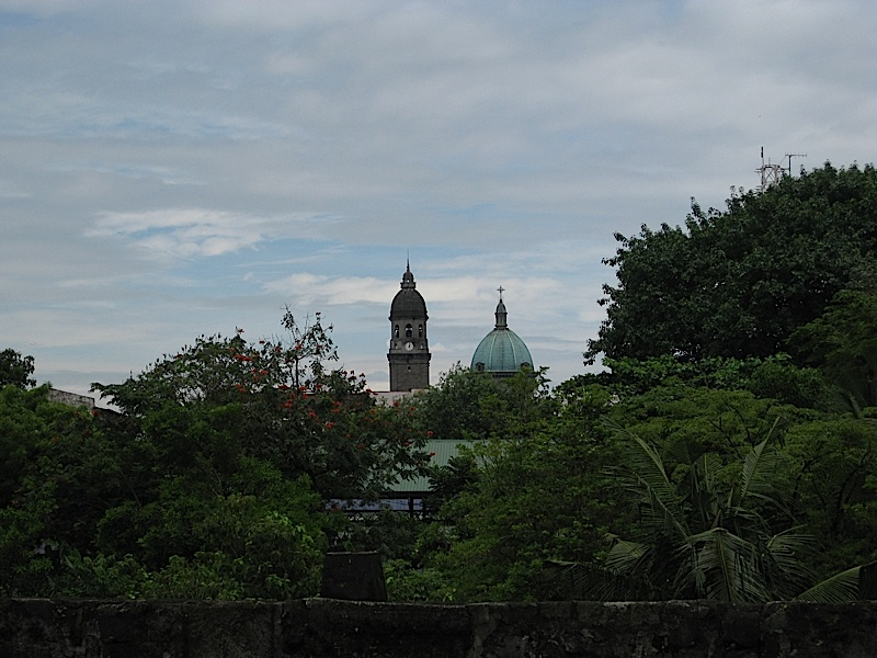 clock and bell tower and dome of the Manila Cathedral