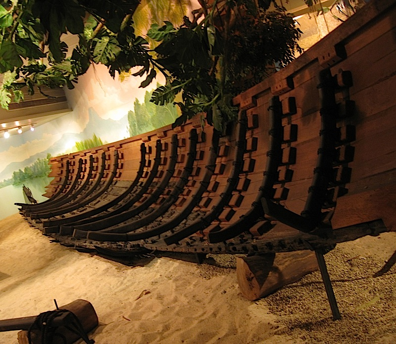 reconstructed balangay (wooden sailboat) at the Museum of the Filipino People