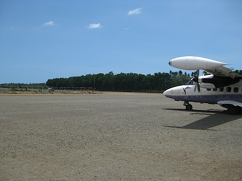 Seair LET 410 at the gravel runway of the Marinduque airport